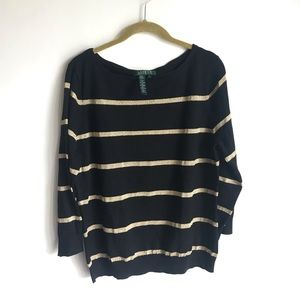 Ralph Lauren Black Glitter Gold Strip Sweater SzXL